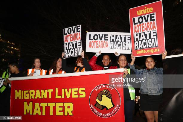 Anti racist protestors rally at Aotea Square on August 3 2018 in Auckland New Zealand Ten activist groups have joined together for the 'Rally Against...