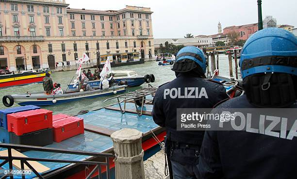 Anti riot policemen during a Rally by Committee No Big ships and No Tav against ItalyFrench summit in Venice