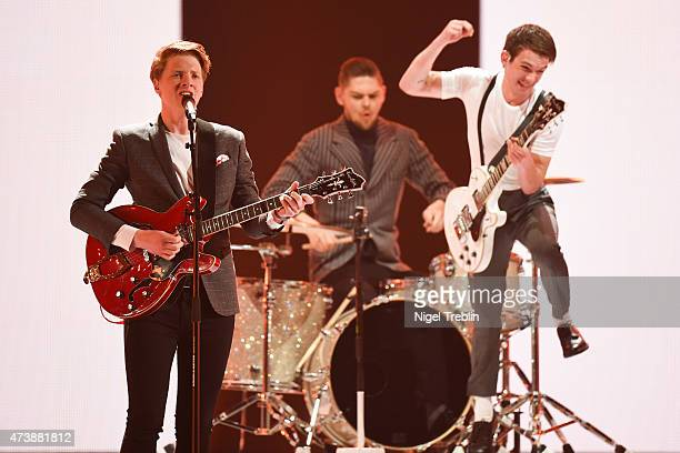 Anti Social Media of Denmark performs during a rehearsal of the first Semin Final on May 18 2015 in Vienna Austria The final of the Eurovision Song...