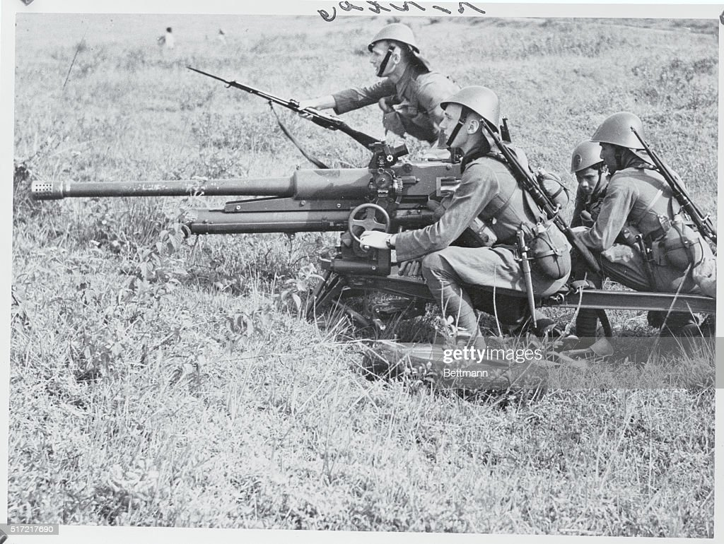 Anti Tank Gun of the Netherlands East Indies Army Going into