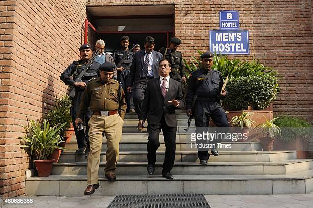 Anti Terrorist Squad commandos performing mock drill at Amity school on December 18 2014 in Noida India Circle officers along with commandos visited...