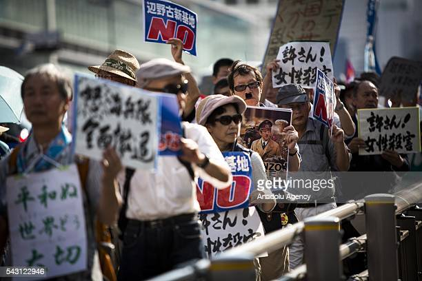 Anti US Airbase protesters gather during the demonstration to oppose the relocation of a US Airbase in Okinawa in Shinjuku Tokyo Japan on June 26 2016