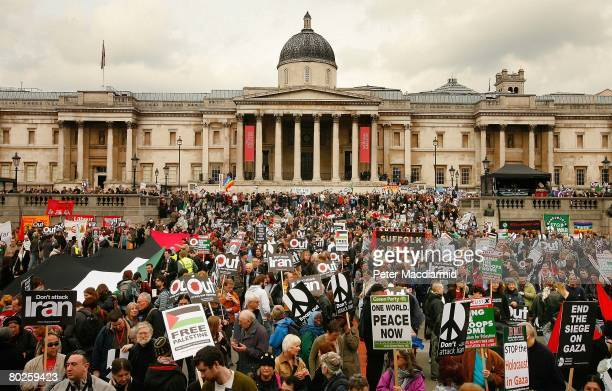Anti war protestors gather in London's Trafalgar Square on March 15 2008 in England A worldwide day of protest against the wars in Iraq and...
