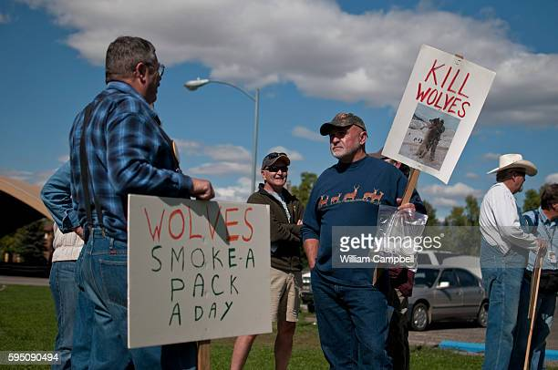 Anti wolf protest at Bogert Park Bozeman Montana Hunters and ranchers were protesting against the number of wolves in Montana and Idaho They say...