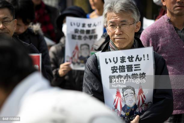 AntiAbe protesters gather in front of the National Diet Building to protest against the policies of Shinzo Abe and to call on the Japanese prime...