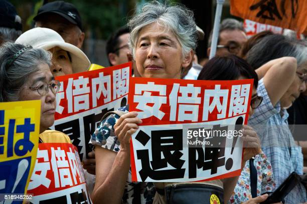 AntiAbe protesters gather in front of the Tokyo parliament to protest against the policies of Shinzo Abe and to call on the Japanese prime minister...