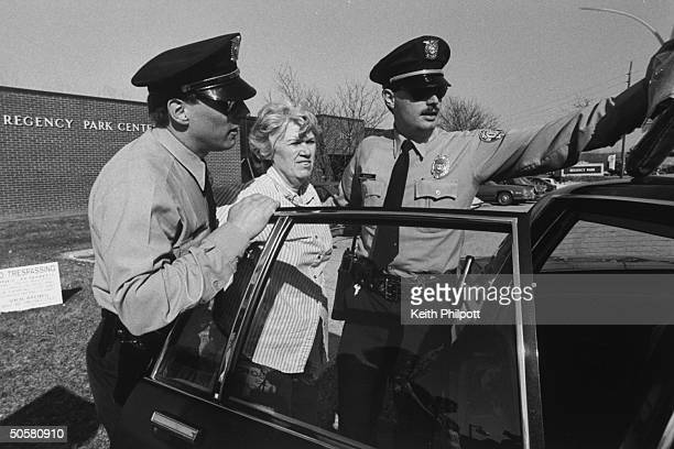 Antiabortion activist Anne O'Brien being arrested by police when the group she works w The ProLife Direct Action League demonstrated outside abortion...