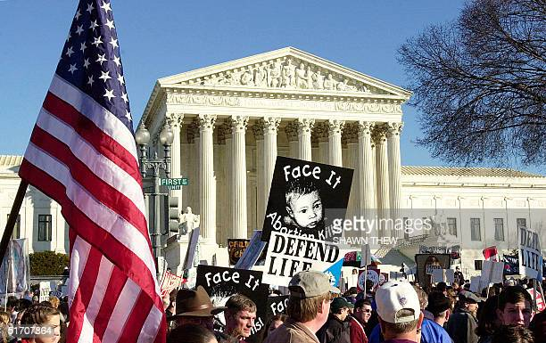 Antiabortion activists arrive at the US Supreme Court in Washington DC during the March For Life from the Washington Monument to the US Supreme Court...