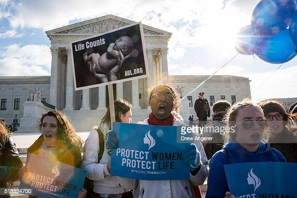 Antiabortion advocates rally outside of the Supreme Court March 2 2016 in Washington DC On Wednesday morning the Supreme Court will hear oral...