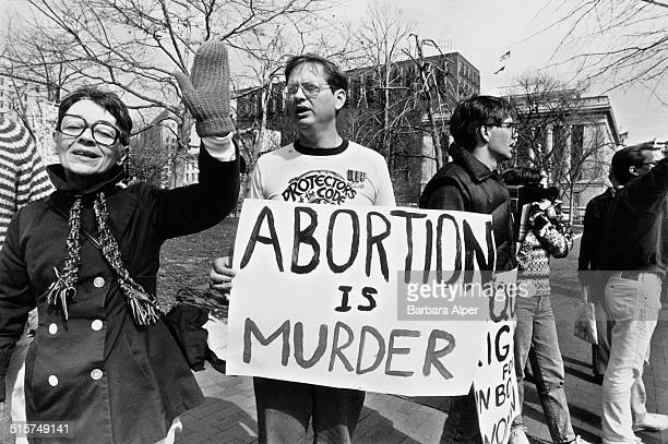 Antiabortion campaigners stage a counterdemonstration at a National March For Women's Lives in Washington DC 9th March 1986