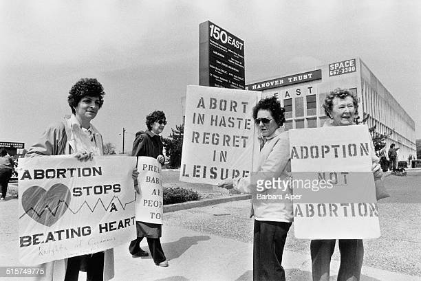 AntiAbortion Campaigners stage a counterdemonstration during a ProChoice march on New York State Route 27 during Reproductive Freedom Week New York...
