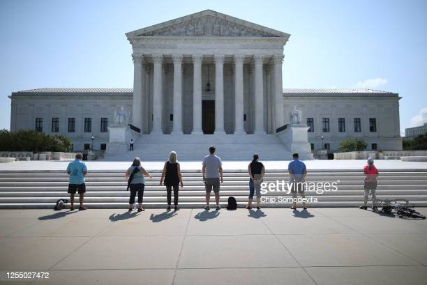 Anti-abortion demonstrators pray in front of the U.S. Supreme Court July 08, 2020 in Washington, DC. In a dual victory for religious groups, the...