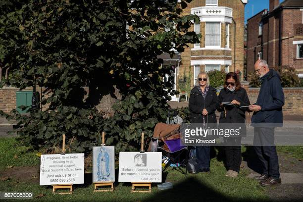 Antiabortion protesters continue a vigil outside the Marie Stopes Abortion Clinic on October 27 2017 in London England Earlier this month Ealing...