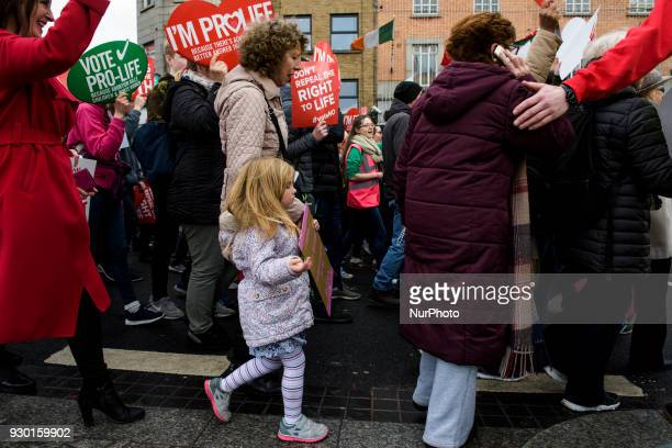 Antiabortion protestors from around the Ireland gather in Dublin for the AllIreland Rally for Life march to Save the 8th amendment to the Irish...