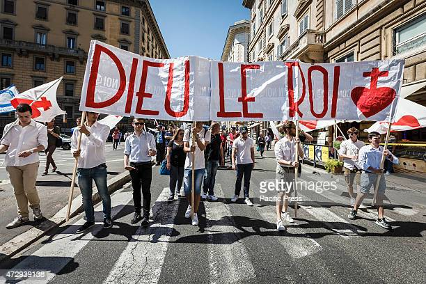 Antiabortion supporters hold a banner during the annual 'March for Life' in Rome to protest against abortion and euthanasia and to proclaim the...