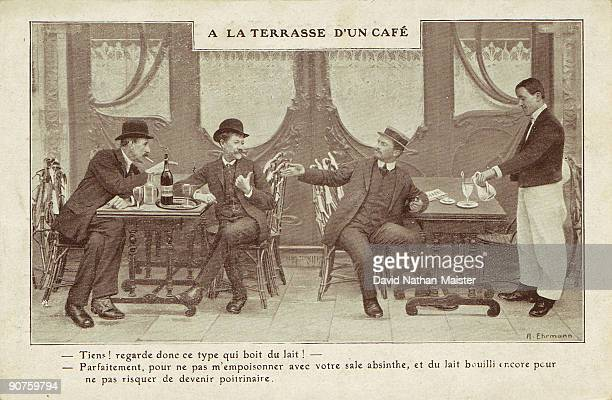 Antiabsinthe card extolling the virtues of milk as an alternative drink