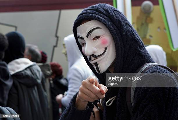 anti-acta protest - guy fawkes stock photos and pictures