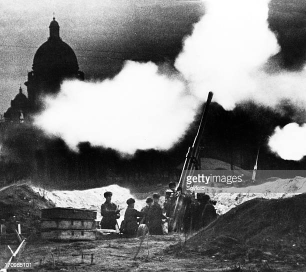 Antiaircraft battery near leningrad's stisaac cathedral during world war ll early 1940s