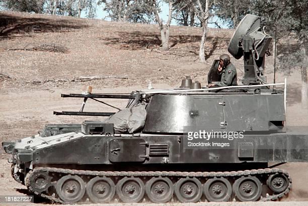 Anti-aircraft guns mounted on an M109 chassis to simulate a Soviet ZSU-23-4.