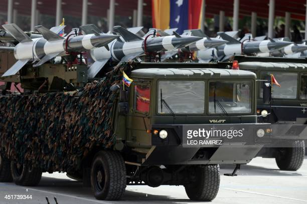 Antiaircraft missiles batteries parade during the Venezuela's Independence Day Military Parade in Caracas on July 5 2014 AFP PHOTO/LEO RAMIREZ
