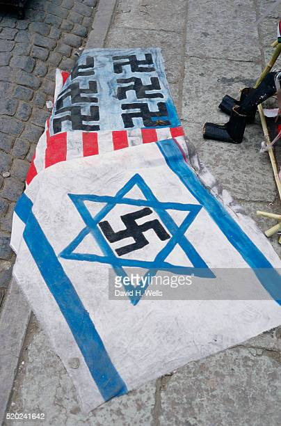anti-american and anti-israeli flags - nazi swastika stock pictures, royalty-free photos & images