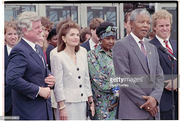 Antiapartheid activist Nelson Mandela meets with members of the Kennedy family in Boston during a 1990 tour of the United States following his...