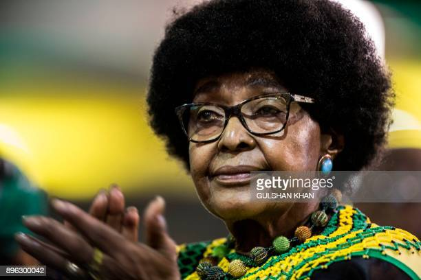 Antiapartheid campaigner Winnie Mandela former wife of former president Nelson Mandela attends the last day of the NASREC Expo Centre in Johannesburg...
