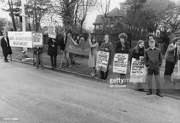Anti-apartheid campaigners outside Sutton Hard Court Tennis Club, Surrey, during the Sutton Hard Court Open Lawn Tennis Tournament, 25th April 1970....