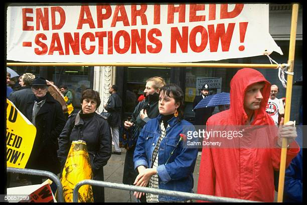 Anti-Apartheid demonstrators holding vigil for commonwealth decision in favor of economic sanctions toward South Africa