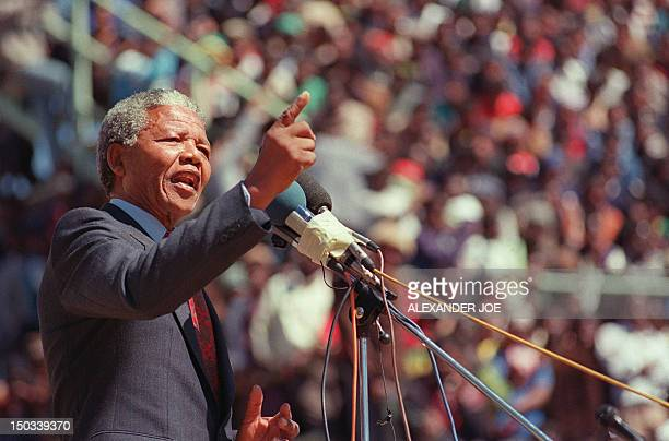 Antiapartheid leader and African National Congress member Nelson Mandela addresses at a funeral of 12 people died during recent township unrests in...