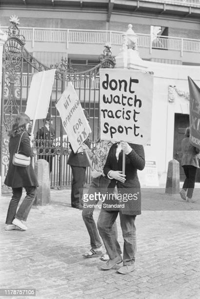 Anti-Apartheid supporters outside the Lord's Cricket Ground protesting against a proposed tour by the South African Cricket Team to the UK, London,...