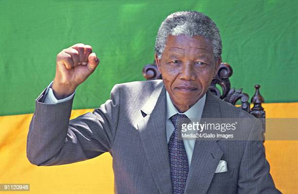 Anti-apartheids activist, Nelson Mandela, shortly after his release from the Victor Verster prison in Paarl.