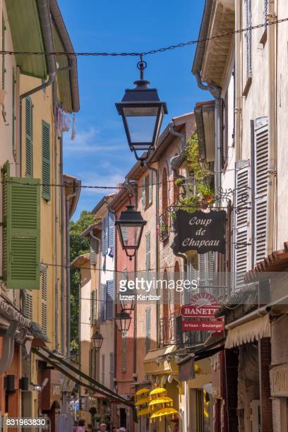 antibes old town near republic and clémenceau streets , alpes maritimes, france - アンティーブ ストックフォトと画像