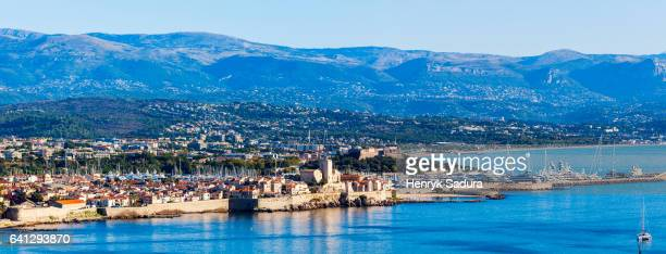 antibes panorama with fort carre - antibes stock photos and pictures