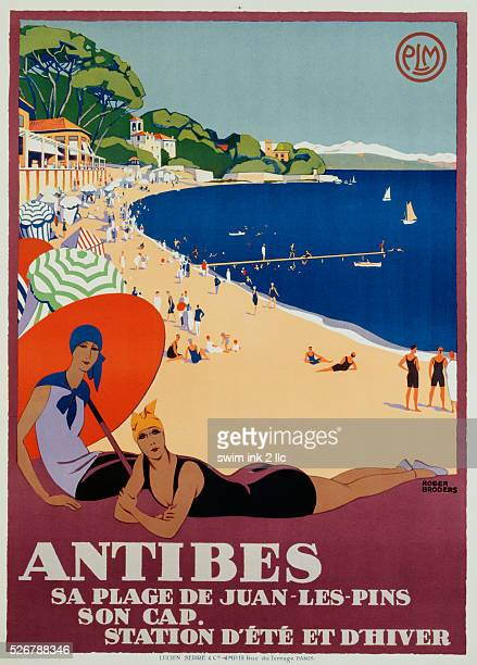 Antibes Travel Advertisement Poster by Roger Broders