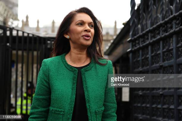 Anti-Brexit activist Gina Miller leaves the Houses of Parliament on March 28, 2019 in London, England. None of the eight proposals put to the vote in...
