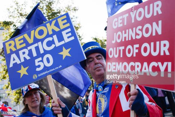 AntiBrexit activist Steve Bray holds placards at Park Lane during the protest A mass 'Together for the Final Say' march organised by the 'People's...
