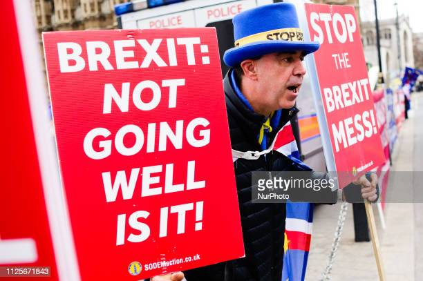AntiBrexit activist Steve Bray shouts at a car thought to be carrying a government minister on Abingdon Street outside the Houses of Parliament in...