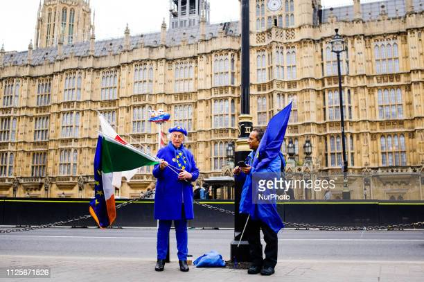 AntiBrexit activists demonstrate on Abingdon Street outside the Houses of Parliament in London England on February 18 2019 Efforts to forge new...