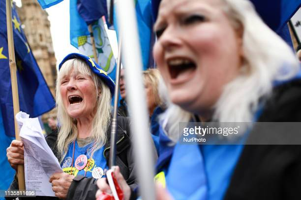 AntiBrexit activists demonstrate outside the Houses of Parliament in London England on April 8 2019 Talks between the Conservative and Labour parties...