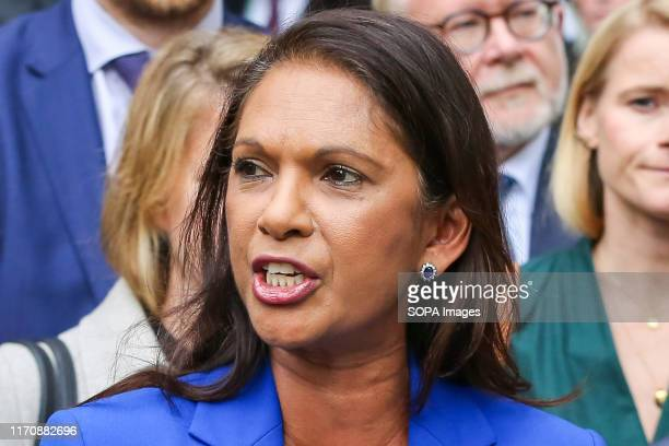 Anti-Brexit campaigner and businesswoman Gina Miller speaking outside The Supreme Court on the day the court ruled that the British Prime Minister...