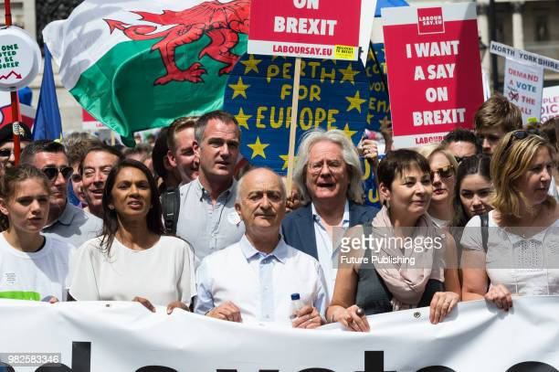 AntiBrexit campaigner Gina Miller actor Sir Tony Robinson and Green Party leader Caroline Lucas joined one hundred thousand of antiBrexit supporters...