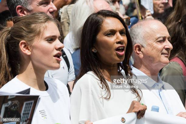 AntiBrexit campaigner Gina Miller and actor Sir Tony Robinson joined one hundred thousand of antiBrexit supporters taking part in People's Vote march...
