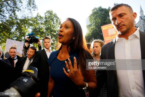 Anti-Brexit campaigner Gina Miller arrives at the Supreme court in central London on the first day of the hearing into the decision by the government...