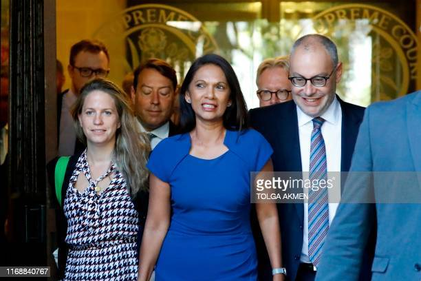 Anti-Brexit campaigner Gina Miller leaves from the Supreme Court in central London, follwowing the first day of the hearing into the decision by the...