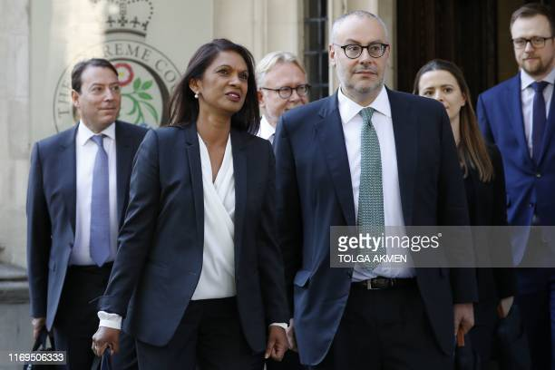 Anti-Brexit campaigner Gina Miller leaves the Supreme court in central London on the third and final day of the hearing into the decision by the...