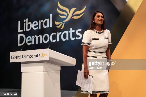 Anti-Brexit campaigner Gina Miller makes a speech at the Liberal Democrat Party Conference at the Brighton Centre on September 17, 2018 in Brighton,...