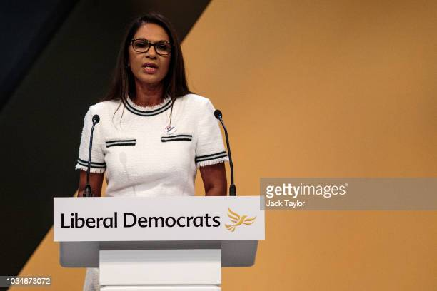 AntiBrexit campaigner Gina Miller makes a speech at the Liberal Democrat Party Conference at the Brighton Centre on September 17 2018 in Brighton...