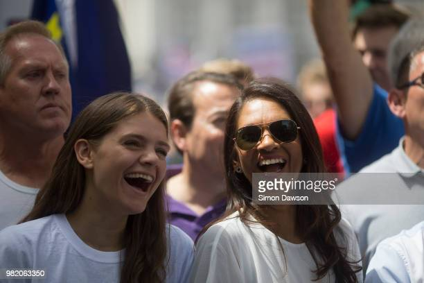 AntiBrexit campaigner Gina Miller reacts as she marches during the People's Vote demonstration against Brexit on June 23 2018 in London England On...