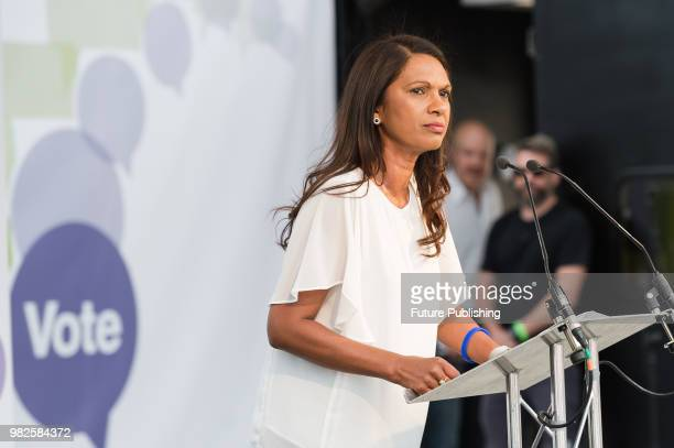 AntiBrexit campaigner Gina Miller speaks at People's Vote rally in Parliament Square in central London on a second anniversary of the Brexit...